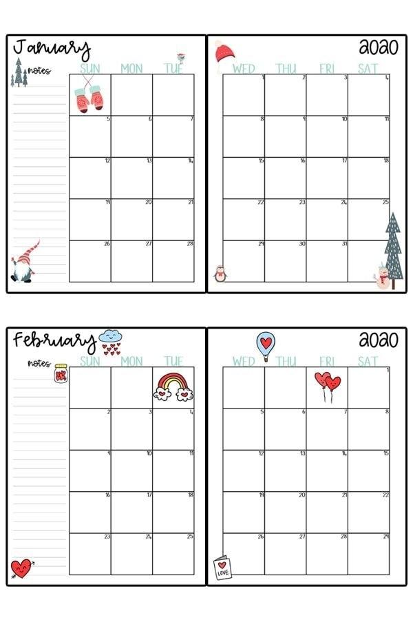 2020 Calendar Printable - Free Printable 2020 Monthly for Free Printable Large Square Monthly Calendar