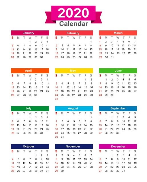 2020 Calendar Printable One Page for One Page Calendar Image