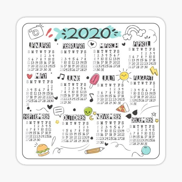 2020 Calendar Stickers | Redbubble for Multi Dose Expiration Calendar 2020 Photo