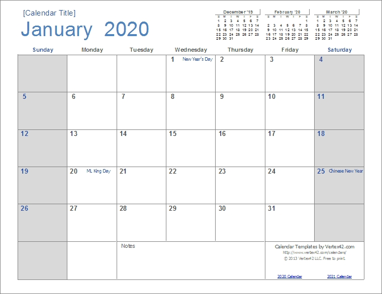 2020 Calendar Templates And Images in Free Printable Monthly Calendar 2-020