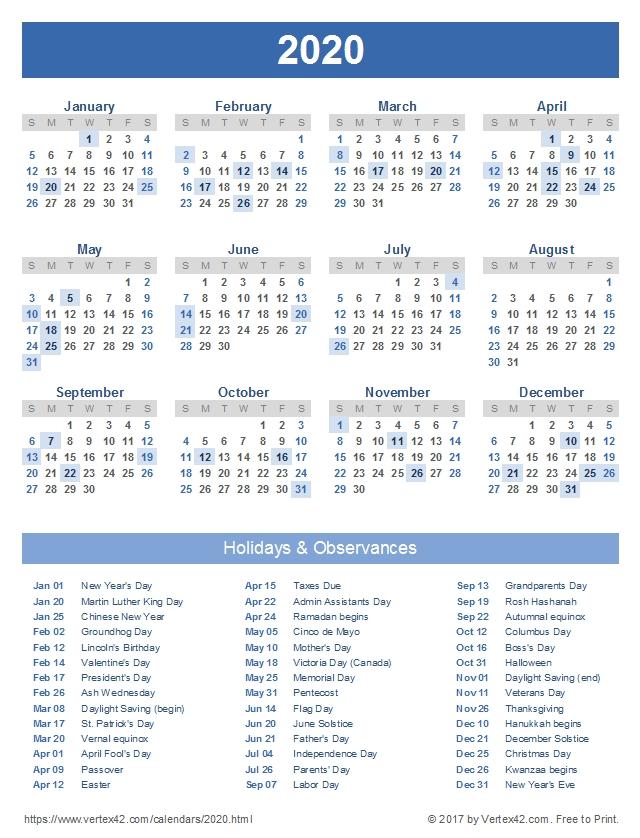 2020 Calendar Templates And Images inside 2020 Calendar Softcopy Image