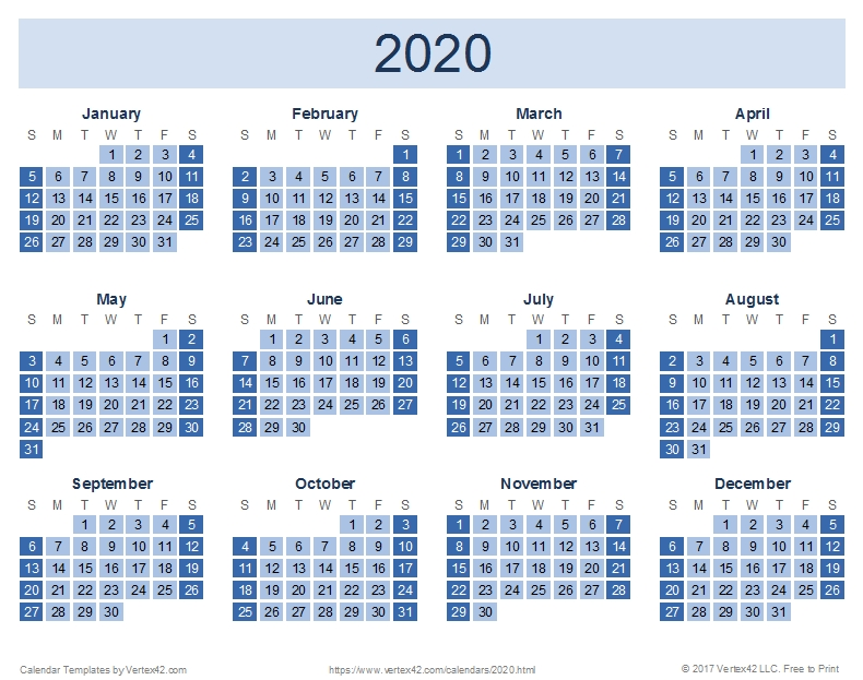 2020 Calendar Templates And Images intended for Printable Julian Calendar Color Coded Graphics