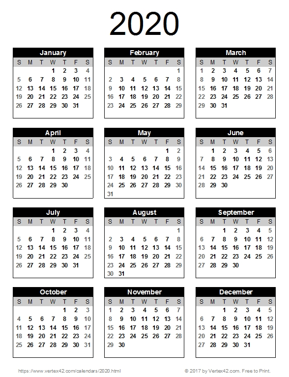 2020 Calendar Templates And Images with Free Printable Monthly Calendar 2-020