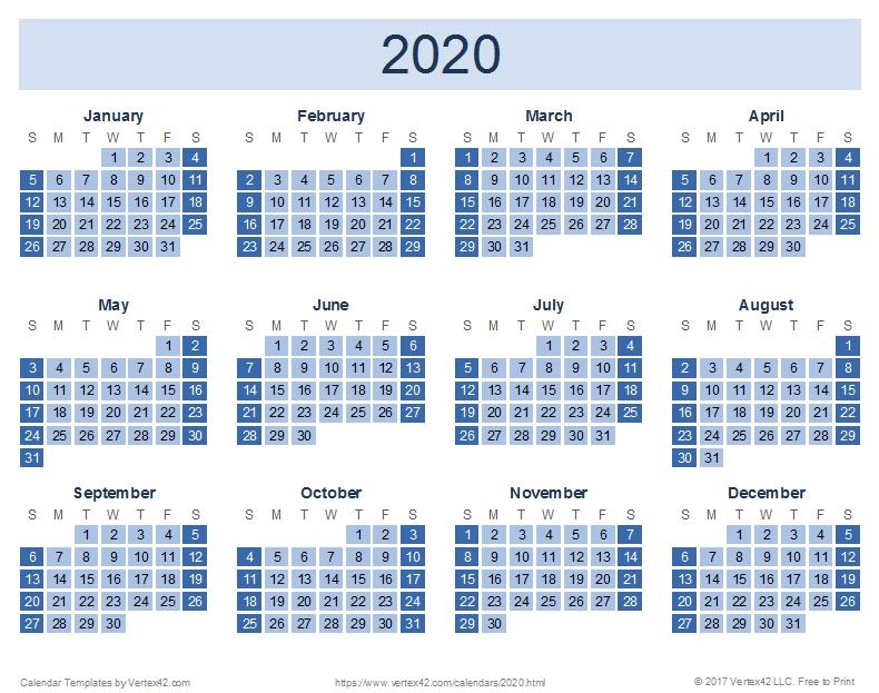 2020 Calendar Templates And Images with Vertex Imprimir Calendasrio Graphics