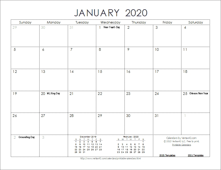 2020 Calendar Templates And Images within Free Printable Monthly Calendar 2-020