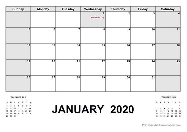 2020 Calendar With Canada Holidays Pdf - Free Printable intended for Printable 2020 Monthly Calendar Template Graphics