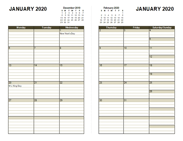 2020 Diary Planner Template - Free Printable Templates pertaining to Free Printable Lined Monthly Calendar 2020