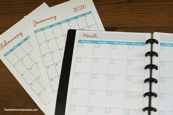 2020 Free Printable Planner Pages - The Make Your Own Zone within Small Pocket Size Calendar Booklet Free Template Image