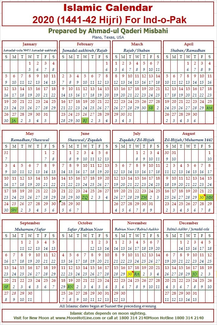 2020 Islamic Calendar For Indo-Pak - Sunni Society with regard to Islamic Calendar Graphics