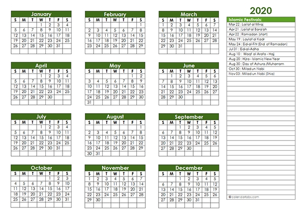 2020 Islamic Festivals Calendar Template - Free Printable throughout Islamic Calendar Graphics