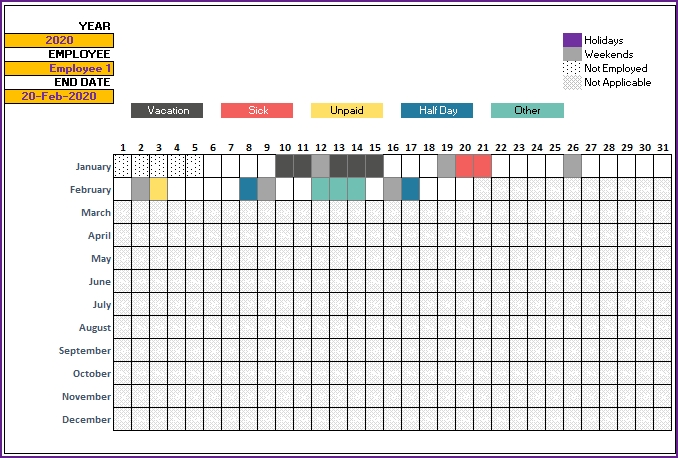 2020 Leave Tracker & Vacation Tracker Free Excel Template throughout Free Online Employee Vacation Calendar