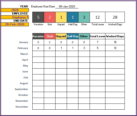 2020 Leave Tracker & Vacation Tracker Free Excel Template with regard to Time Off Calendar Excel