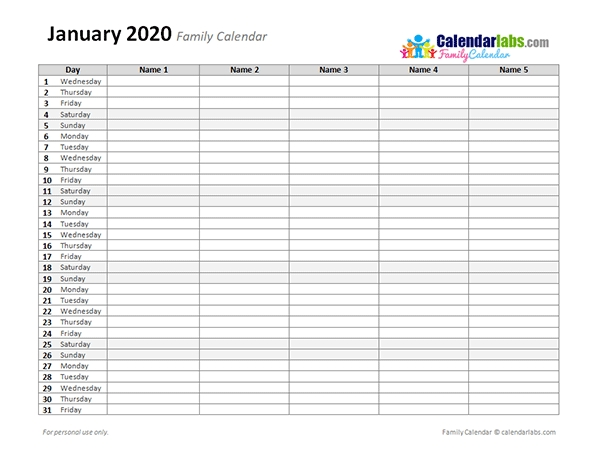 2020 Monthly Planner Template - Free Printable Templates for Printable Calendar 2020 Monthly No Weekends Photo