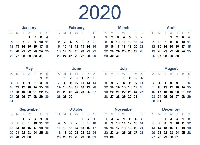 2020 One Page Calendar Printable | Calendar 2020 inside One Page Calendar Image