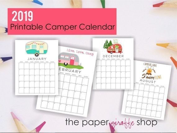 2020 Printable Calendar, Camper Calendar, Monthly Calendar for 2020 Printable Camping Calendar Photo
