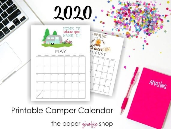 2020 Printable Calendar, Camper Calendar, Monthly Calendar, Gift For The  Camping Lover, Camper Decor, Wall Calendar regarding 2020 Printable Camping Calendar