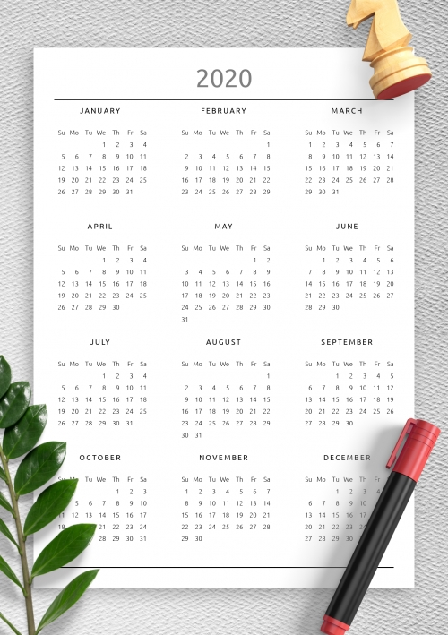 2020 Printable Calendar within 11 By 17 Calendar Template