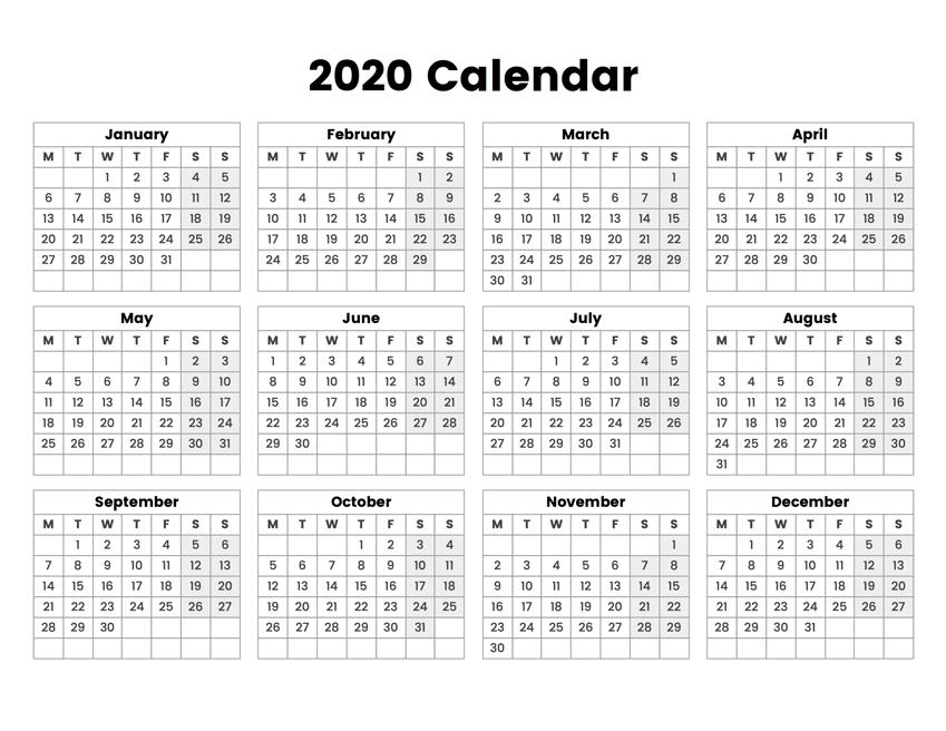 2020 Year Calendar With The Week Starting On Monday in Free Printable Calendar Monday Thru Sunday Image