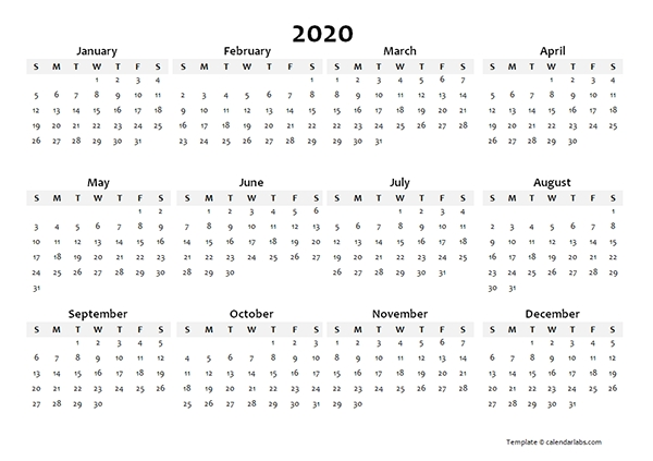 2020 Yearly Blank Calendar Template - Free Printable Templates within 11X17 2020 Calendar Pdf
