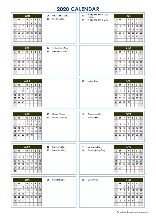 2020 Yearly Calendar Template Vertical Design - Free throughout Calendar Template Vertical