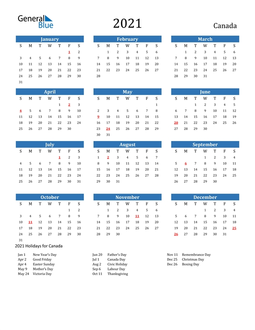 2021 Calendar - Canada With Holidays within 2021 Calendar Printable Free Pdf Graphics