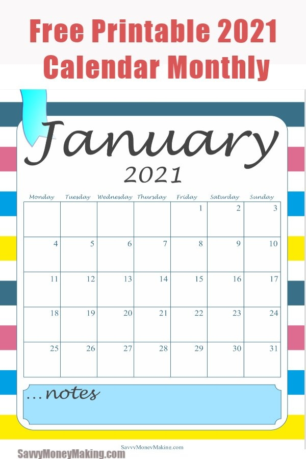 2021 Monthly Calendar Printable - Free Monthly Calendar with regard to Calendar You Can Write In Free Graphics