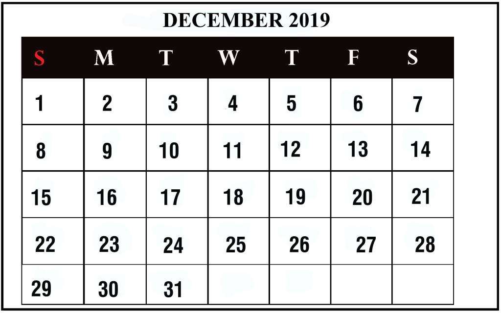21+ Free Blank Fillable Calendar December 2019 Printable regarding Fillable 12 Month Calendar