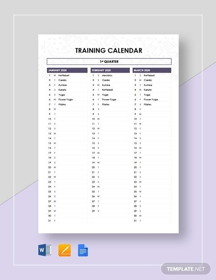 21+ Training Calendar Templates - Free Sample, Example with regard to Monthly Training Calendar Format Photo