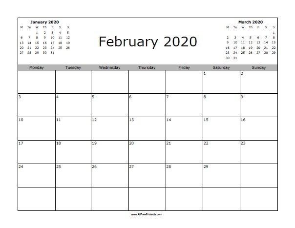 23+ Free Blank Calendar For February 2020 Printable Fillable for Fillable 12 Month Calendar Graphics