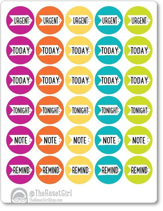 25 Gumball Daily Reminder Stickers, Planner Stickers, Weekly inside Printable Reminder Stickers For Calendars Graphics