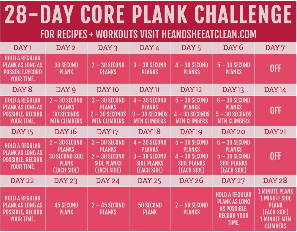 28-Day Plank Challenge With Free Printable Calendar in Ab Challenge Calendar Printable