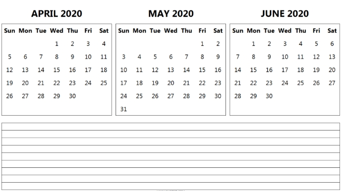 3 Month April May June 2020 Calendar With Notes In 2020 with regard to 3 Month Calendar 11X17 Printable Image