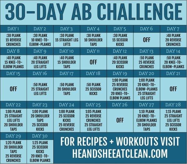 30-Day Ab Challenge in Ab Challenge Calendar Printable Image