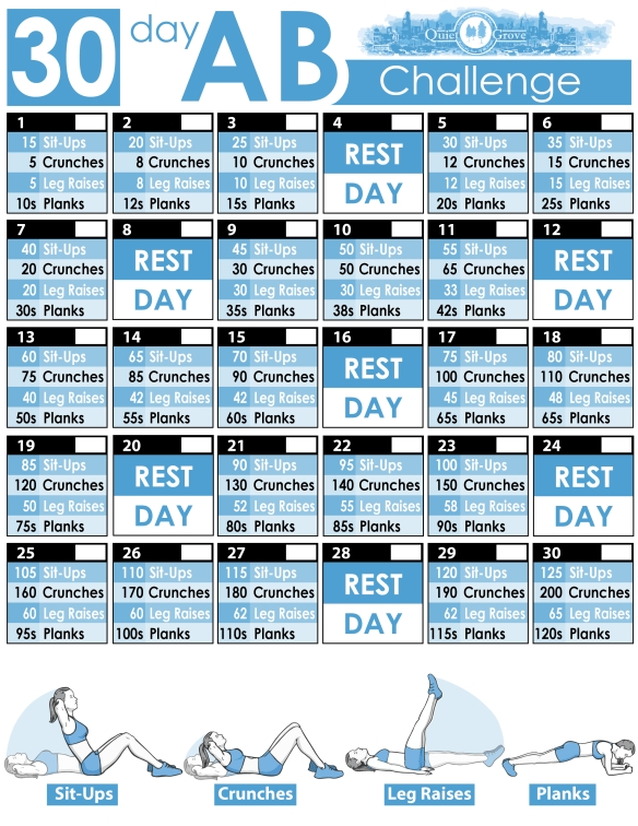 30-Day Ab Challenge (With Free Printable) | 30 Day Ab with Ab Challenge Calendar Printable
