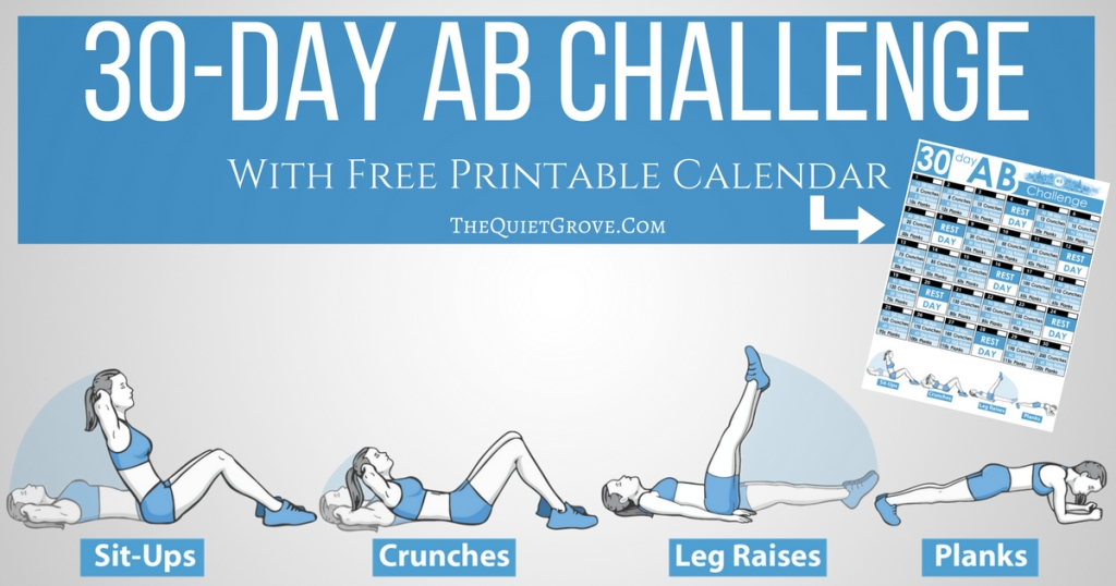 30-Day Ab Challenge (With Free Printable) ⋆ The Quiet Grove for Ab Challenge Calendar Printable Image