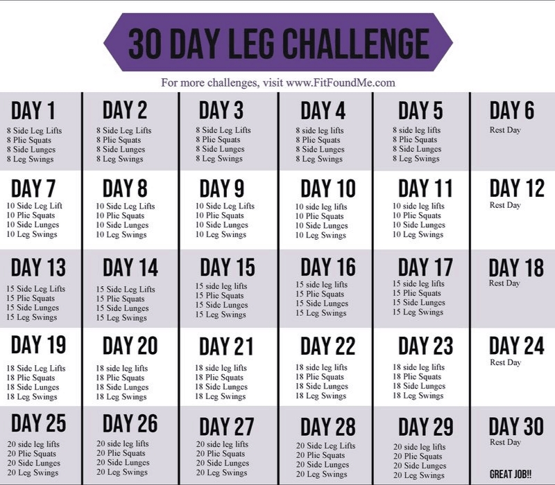 30 Day Leg Challenge For Slimming Thighs | Fit Found Me for 30 Day Squat Challenge Printable Image