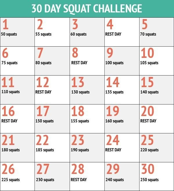 30 Day Squat Challenge - 30 Day Fitness Challenges - Life inside 30 Day Squat Challenge Printable Image
