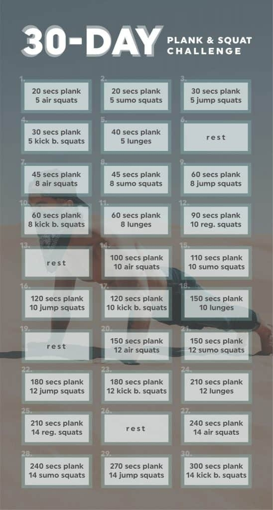 30-Day Squat & Plank Challenge | 20 Fit pertaining to Ab And Squat Challenge Printable Graphics