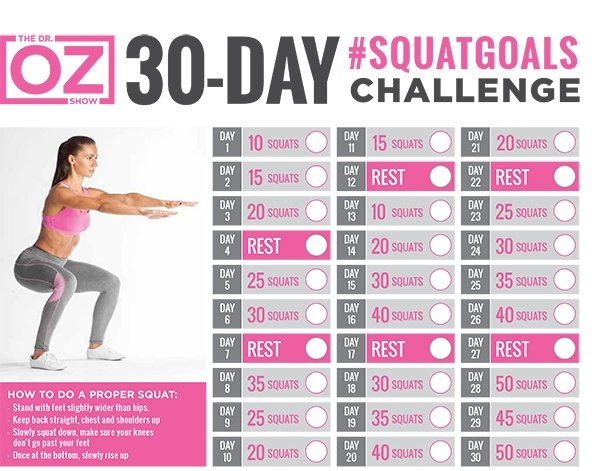 30-Day #squatgoals Challenge | The Dr. Oz Show with regard to 30 Day Abs And Squats Challenge Printables Graphics