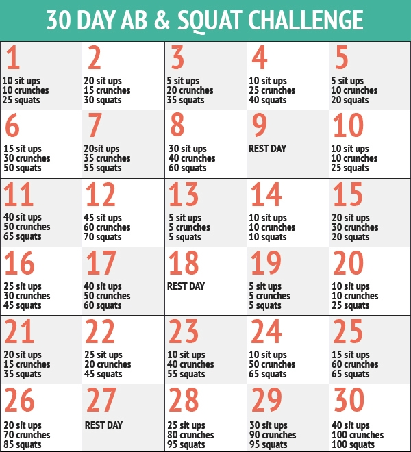 30 Days Of Abs And Squats Chart Printable | This Entry Was with regard to Ab And Squat Challenge Printable Graphics