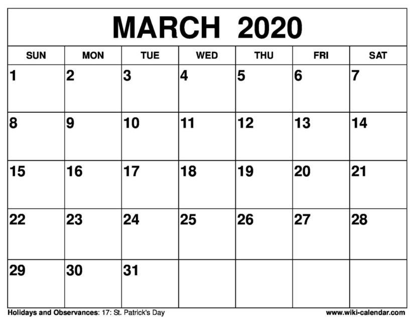30 March 2020 Calendars You Can Download And Print In 2020 in Calender I Can Fill Out And Print