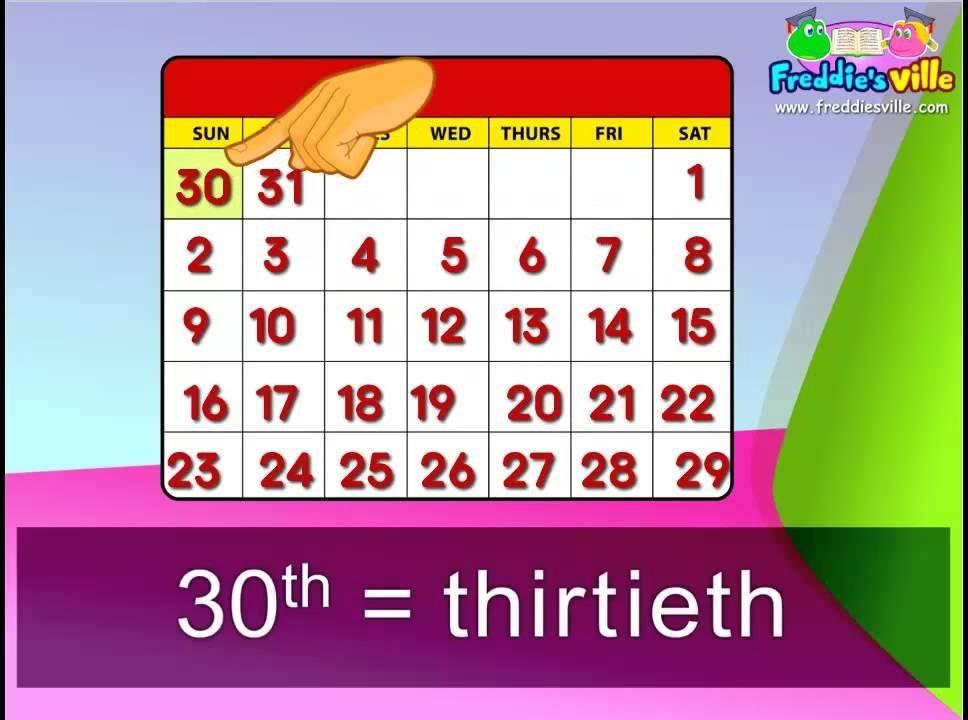3Rd Grade - Months Dates Ordinal Numbers Words Sentences intended for Ordinal Claendar