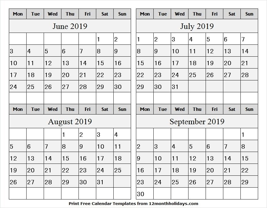 4 Month Calendar June September 2019 Template | Word, Pdf, Excel intended for Three Month Calendar Template Word