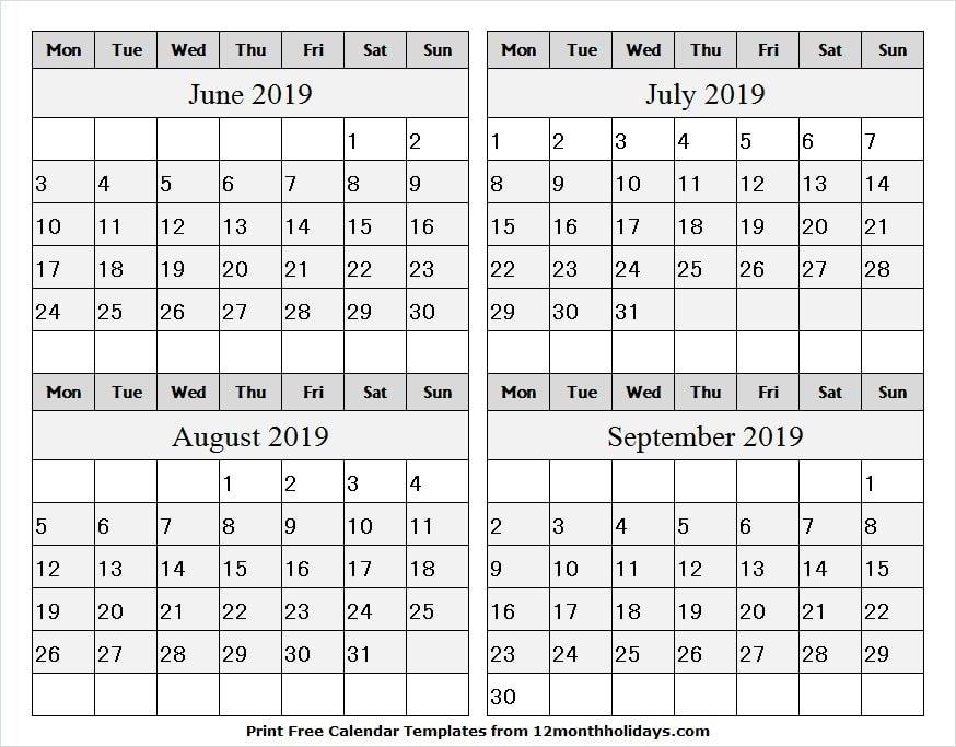4 Month Calendar June September 2019 Template | Word, Pdf, Excel throughout Word 3 Month Calendar Template Photo