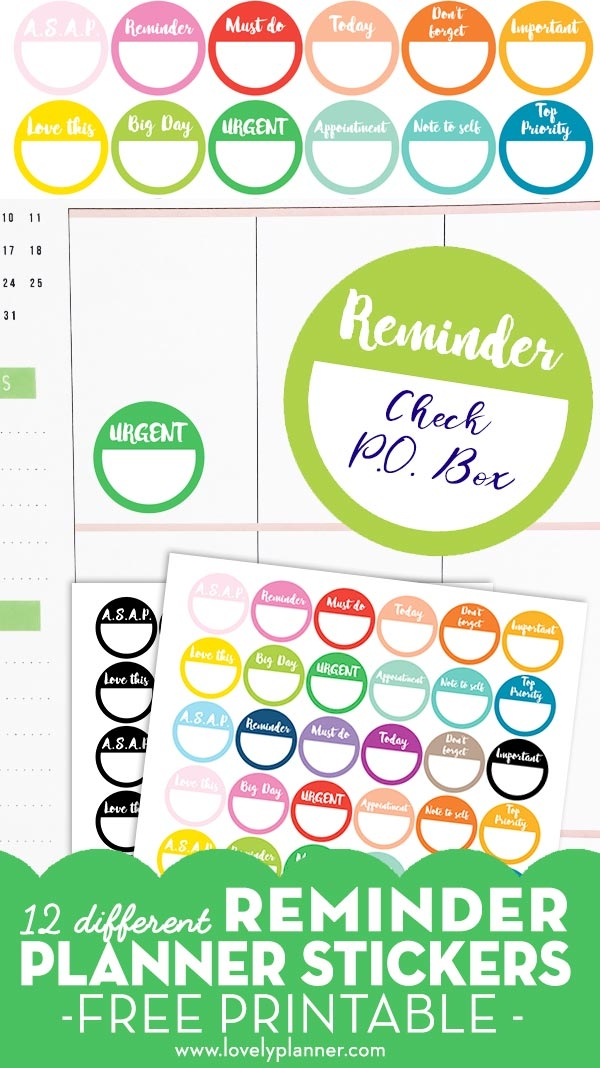 48 Free Printable Reminder Planner Stickers - Rainbow Or B&w regarding Printable Reminder Stickers For Calendars