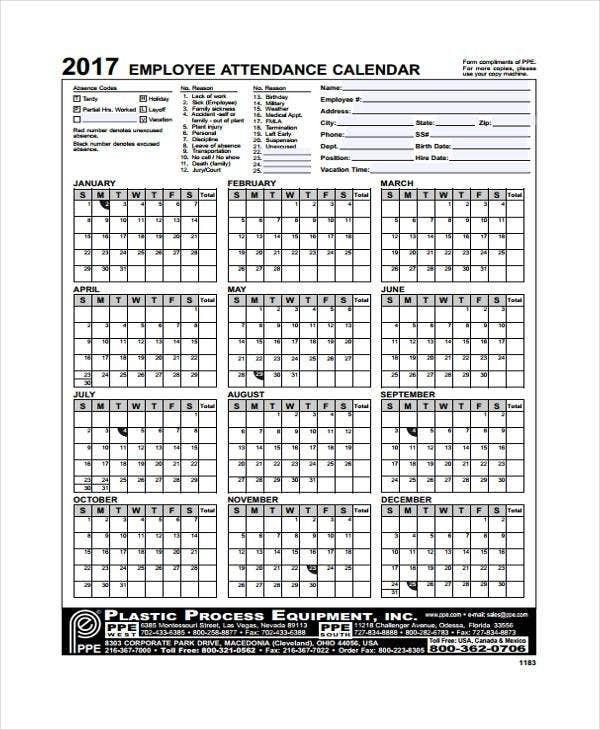 7+ Attendance Calendar Templates - Free Word, Pdf Format in Editable Attendance Calendar For Teachers