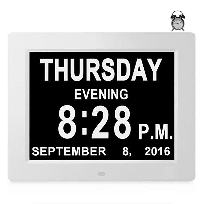 8 Alarms] Large Day Date Clock Digital Calendar For Memory with regard to Dementia Calendar