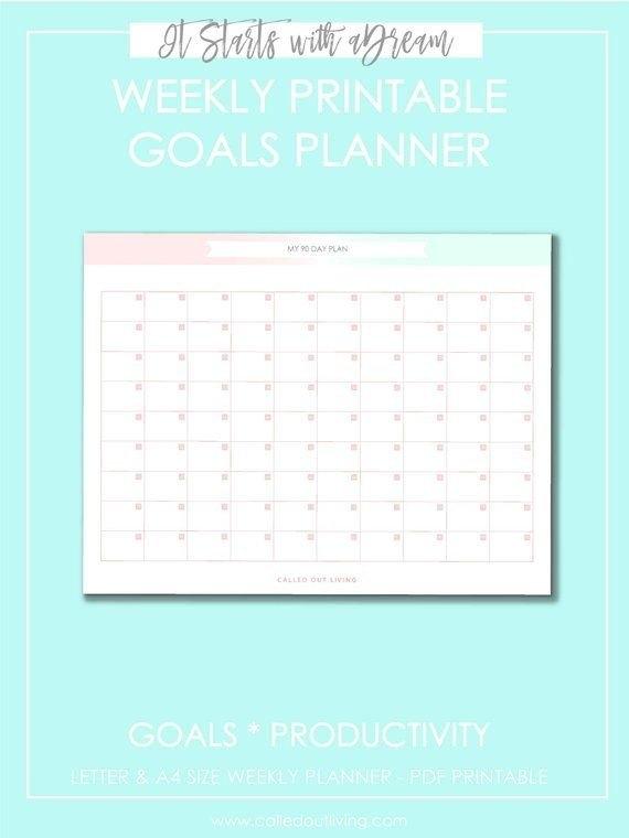 90 Day Goal Planner, Printable Planner, Goal Setting Planner inside Print 90 Day Calendar