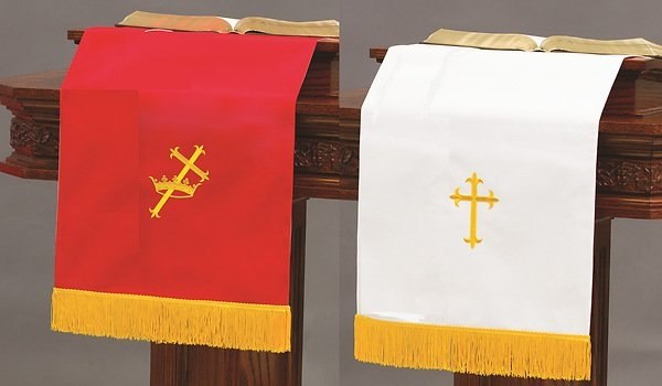 Abbott Hall Sp Reversible Red/white Pulpit Scarf in Pulpit Scarf Co;ors For Pctober In United Methodist