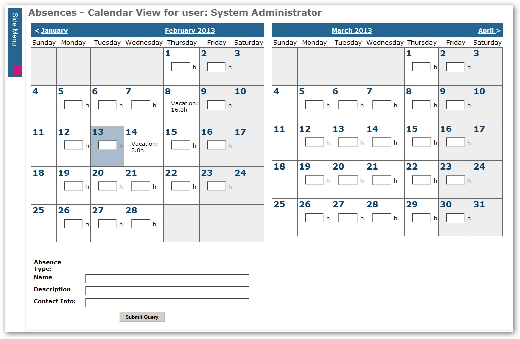 Absence Management: Allow Convenient Entry Of Daily Absences with regard to How To Make A Yearly Calendar In Wordperfect Photo